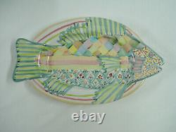 Mackenzie Childs Fish Story 15 Dinner Plate Platter Green Blue Pink