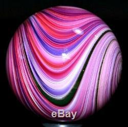 Mark Matthews Glass Marble/1.716raspberry Sploosh-pink, Lavender, Green Lutz, Rose