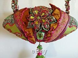 Mary Frances Beaded Handbag Fan Fancy Original Pink Green Ruffles Collectors