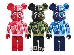Medicom Be@rbrick BAPE ABC CAMO SHARK 1000% Green, Blue, Pink 3 set ape Bearbrick