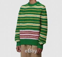 Mens Acne Studios Kai Waffle Stripe Wool Green/pink Multi Sweat (sa2) Rrp £279.9