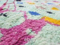 Moroccan Boujaad Handmade Rug 5'x8'4 Berber Abstract Faded Green Pink Wool Rug