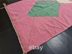 Moroccan Kilim Handmade Carpet 5'5x7'8 Geometric Berber Pink Green Wool Rug