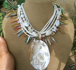 Mother Of Pearl Blister Shell Pendant Necklace Big Bead Rainbow Blue Pink Green