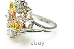 Multi Color Diamond Ring 4.50ct Natural Fancy Intense Pink Blue Green Argyle GIA