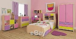 Multicoloured childrens furniture set Wardrobe Drawers Bed Desk Storage kids