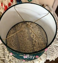 NEW Anthropologie Lamp Shade teal green pink Dragonfly Beaded Pom Pom 12 Large