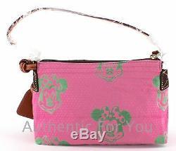 NEW Disney Dooney & Bourke Minnie Mouse Pink Green Faces Canvas Pouchette Bag
