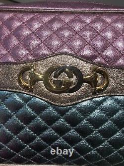 NEW GUCCI Trapuntata Medium Laminated Metallic Leather Bag Horsebit PINK & GREEN