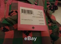 NEW KATE SPADE Green & Pink Plaid Gingham Spade Belted Dress Sz 10