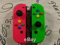 NEW Nintendo Switch Original Neon Pink (L) & Green (R) Joy Cons with SNES Buttons