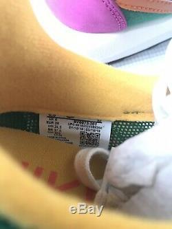 NEW Sacai Nike LDV Waffle Pink Suede Pine Green Mesh Sneakers UK 6 EUR 39 US 6.5