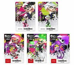 NEW amiibo Splatoon Boy Girl Squid ink Neon Green Pink Purple Squid Sisters SET