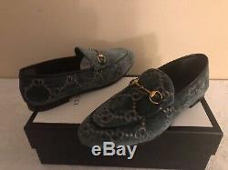 NIB Gucci Jordaan Green/Pink GG Velvet Horsebit Loafer Size 38.5EU/8.5US $730.00