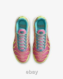NIKE AIR MAX PLUS PINK NEON GREEN SNEAKERS Size 6.5Y / 8 Womens CW5840-700