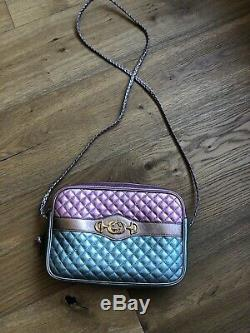 NWB Gucci Trapuntata Medium Laminated Metallic Leather Bag Horsebit Pink Green