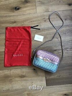 NWB Gucci Trapuntata Medium Laminated Metallic Leather Purse Horsebit Pink Green