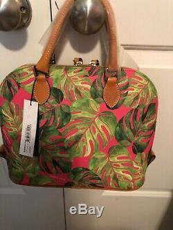 NWT Dooney & Bourke Tropical Palm Leaf Montego Zip Zip Satchel in Pink
