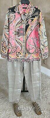 NWT ETRO $540 50IT/14US Cotton Pink/Green Paisley Straight Fit Long Sleeve Shirt