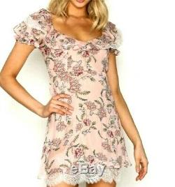 NWT For Love and Lemons Bee Balm Mini Dress Pink Green Short Lace Small (In)