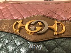 NWT Gucci Pink/Green Laminated Metallic Leather Zumi Crossbody Bag $1790.00