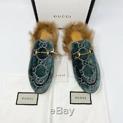 NWT Gucci Princetown GG Green Pink Velvet Slippers Mules Lamb Wool Lined Size 8