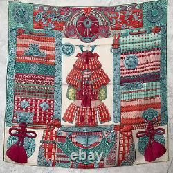 NWT Hermes 90cm silk scarf Carre Parures de Samourais Green Pink