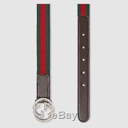 NWT NEW Gucci girls boys GG web stripe belt green or pink S M L 258155