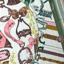 NWT NEW Hermes Pink Green White Duo d'Etriers CASHMERE SILK 140 XL Shawl Scarf