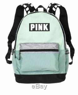 NWT Victorias Secret PINK Logo Campus Backpack Book Bag OS Seafoam Green-Gray