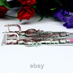Natural Green Emerald, Pink Ruby & White Cz Sterling 925 Silver Long Earrings