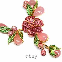 Natural Pink Chalcedony Thai Ruby & Green Tsavorite Necklace 925 Sterling Silver
