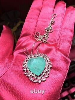 Neon Glow Natural Green Colombian Emerald And Pink Kunzite Heart Necklace 925