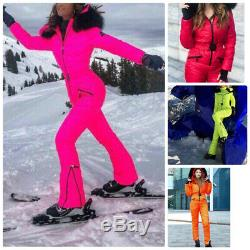 Neon Winter Ski Suit Overall Jumpsuit Pink Green Yellow Orange Red Snowsuit Fur