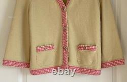 New $2800 11c Chanel Cashmere Yellow Green Pink Cardigan CC Logo Sweater 42