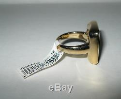 New Bold Square Mother-of-Pearl Multi Pinks Greens Ring 14K Gold Size 9 $422