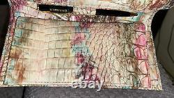 New Brahmin Amethyst Pink Blue Creme Gold Green Checkbook Wallet Purse Nwt