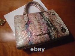 New Brahmin Anywhere Convertible Opal Blue Gold Pink Green Handbag Crossbody