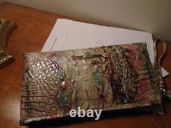 New Brahmin Kayla Amethyst Pink Green Purple Clutch Wallet Purse Wristlet Nwt B