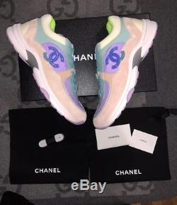 New Chanel 19c CC Logo Green Purple Pink Suede Lace Up Sneakers Sz 9.5 40.5