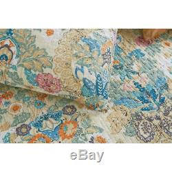 New! Cozy Chic Cottage Blue Teal Aqua Green Pink Yellow Floral Soft Quilt Set