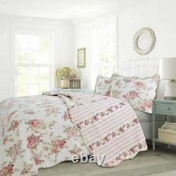 New! Cozy Chic Cottage Pink Red Green Yellow White Rose Shabby Soft Quilt Set