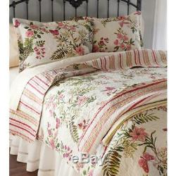 New! Cozy Chic Shabby Vintage Ivory White Red Pink Rose Green Soft Quilt Set