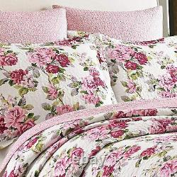 New! Cozy Cottage Chic Shabby Pink Purple White Green Floral Leaf Quilt Set