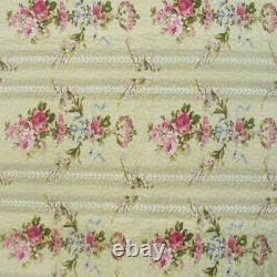 New! Cozy Country Ivory Red Pink Purple Rose Blue Green Vine Floral Quilt Set