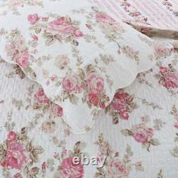 New! Cozy Shabby Chic Country Pink Green Leaf Purple Red Ivory Rose Quilt Set