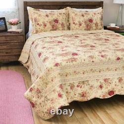 New! Cozy Vintage Chic Shabby Ivory Pink Red Green Yellow Rose Leaf Quilt Set