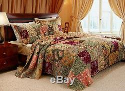 New! Cozy XXL Antique Rose Red Pink Green Quilt Shabby Country Bedspread Set