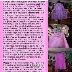 New Designer FENDI Couture Pink pony fur & green suede trim Coat Jacket S 42 4-8