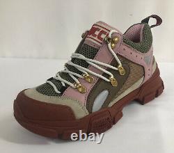 New Gucci Flashtrek Pink/Tan/Brown/Green Hiker Dad Sneakers 38.5EU/8.5US $980.00